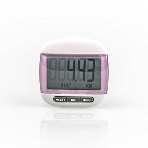 Incutex Schrittzähler Kalorienmesser, Pedometer mit LCD Display, Stepcounter, Schrittmesser Pink