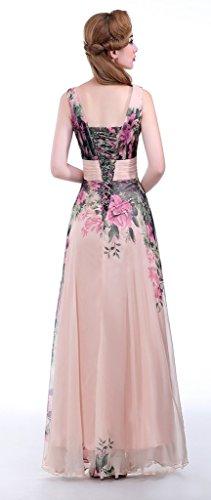 Eudolah Robe de soirée en mousseline à imprimé des fleurs robe de cérémonie demoiselle d'honneur femme Col V