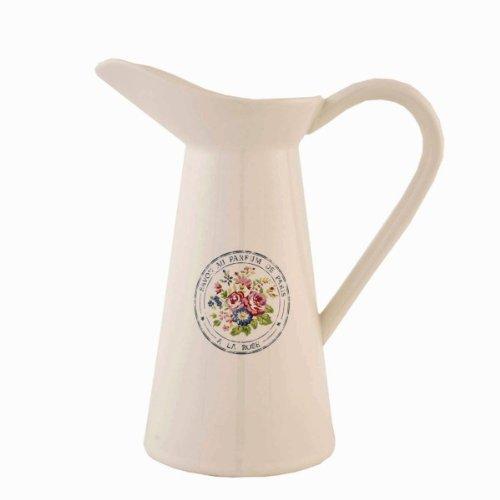 Clayre & Eef 61990 Krug Kanne Pitcher Keramik weiß 'Savon au Parfum de Paris' Romantik- Look