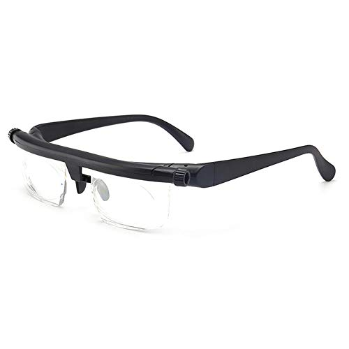 LJXiioo Schwarze Lesebrille -6D bis + 3D Variable Myopie Vergrößerungslesebrille,1pcs