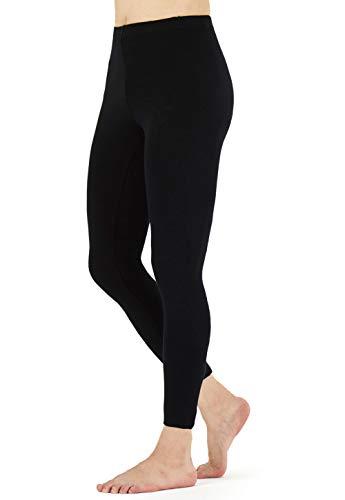 FALARY Leggings Damen Lang Knöchellang Blickdichte Leggins Yoga Tights Viele Größen Schwarz M