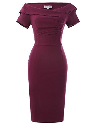 Kleid weinrot Rockabilly Damen Kleid Sommerkleid Knielang Größe 40 BP158-2 ()