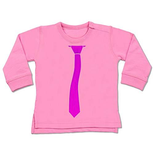 Shirtracer Karneval und Fasching Baby - Krawatte Streifen Kostüm - 6-12 Monate - Pink - BZ31 - Baby Pullover