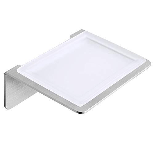 WEISSENSTEIN Seifenschale | Seifenhalter | Seifenablage | Glasablage | OHNE BOHREN | aus hochwertigen Edelstahl und Glas | Maße: 13 x 10 x 6 cm