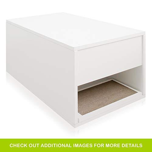 Way Basics Katzentoilette, modernes Design, seitlich, ohne Werkzeug zu montieren, aus nachhaltigem, ungiftigem Zboard-Papier, Weiß