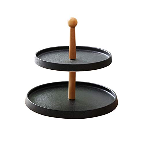 Xuejuanshop Dessert rack/Cupcake Holder European Ceramic Double-layer Cake Stand Creative Fruit Dessert Stand Afternoon Tea Cake Display Stand Cupcake Stands (Color : Black)