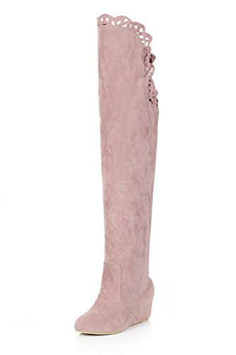 femme bottes - SODIAL(R)femme mode dentelle elastique bottes rose 39
