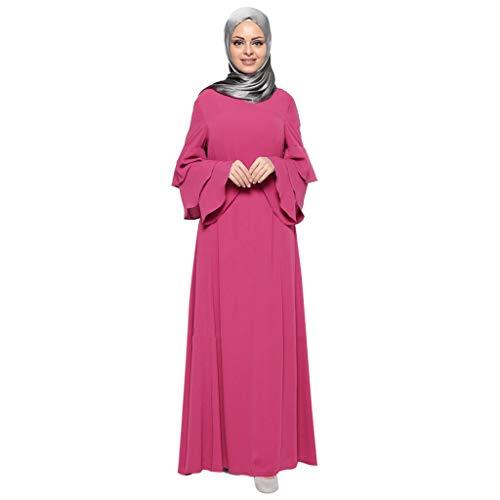 Scrolor Indische Bekleidung Bluse Abaya Islamischer Araber Kaftan Dubai Robe Kleidung Frauen Muslim Lose Einfarbig(Rosa,XL) (Männlichen Indischen Kostüm)