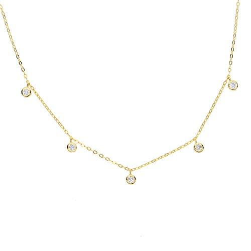 ZUXIANWANG Damen Halskette,Gold Feines Silber Schmuck Einfach Zarter Charme Collier Italien Kette Blende Cz Drop Minimalistischen Halskette 925