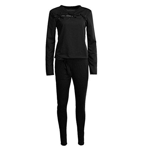 Ecotrumpuk Damen-Anzug, Winter, lange Ärmel, enge Passform, Hose XL Schwarz