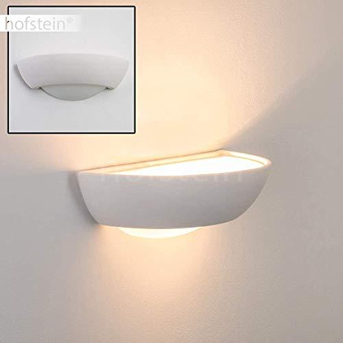 Gipslampe Stronco - Designer-Wandleuchte Weiß im halbrunden, stufenförmigen Design – Up- and Down-Wandlampe aus Gips – individuell bemalbar – Gipslampe G9-Fassung max. 35 Watt – Wandspot Wohnzimmer