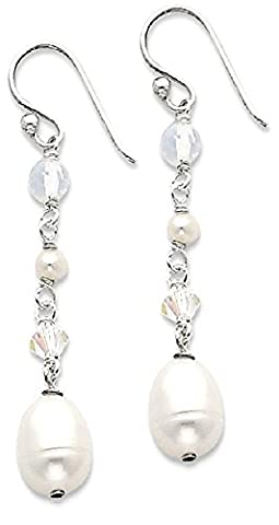 IceCarats 925 Sterling Silver White Freshwater Cultured Pearl/opalite Crystal/crystal Drop