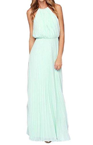 Donna abito a pieghe chiffon vestiti halterneck senza maniche vestito lungo da maxi abiti da sera estivo casual elastico in vita vestitini dress (medium, azzurro)
