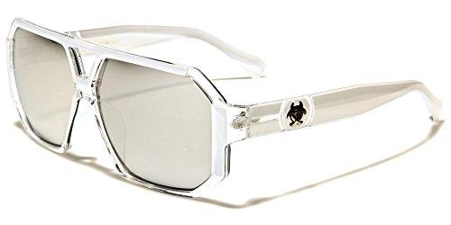 Biohazard Aviator quadrato moda uomo donna Unisex occhiali da sole di sport di guida UV400Free beachhutsunglasses Astuccio Incluso bianco WHITE TRANSLUCENT FRAME/SILVER MIRROR LENSES