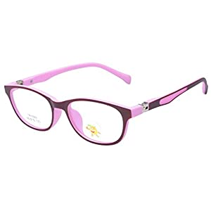 Hibote Mädchen Junge Brillen – TR90 Ultraleicht Clear Lens Glasses Frame Geek/Nerd Brillen mit Car Shape Gläser Fall