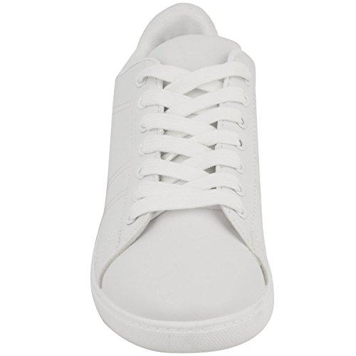 Baskets basses - à lacets/semelle plate - femme - à paillettes Faux cuir blanc/argenté