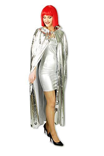 Das Kostümland Metallic Glitzer Umhang 130 cm Länge - Silber - Kostüm Weltall Zukunft - Space Kostüm Für Erwachsene