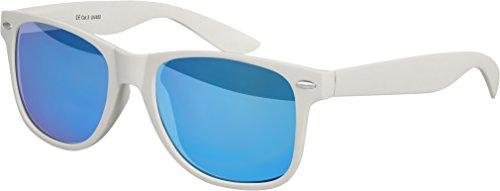 NEU Hochwertige Nerd Wayfarer Sonnenbrille Rubber im Retro Stil Vintage Unisex Brille mit Federscharnier Blau verspiegelte Gläser (Hellgrau - Blau verspiegelt)