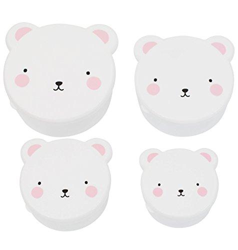 A little lovely company - Snack box: Bear pink - Butterbrotsdose, Pausendose - Bärendose - 4er Set
