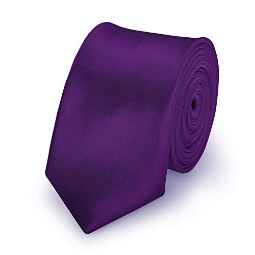 StickandShine Krawatte Aubergine slim aus Polyester einfarbig uni schmale 5 cm