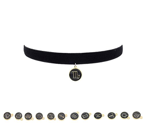 girls-black-velvet-choker-necklace-with-12-horoscope-constellation-pendant-80s-90s-taurus