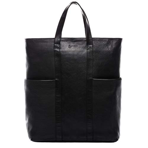 BACCINI Laptoptasche & Rucksack echt Leder Liane-Duo Shopper Rucksack Laptopfach Ledertasche Damen schwarz