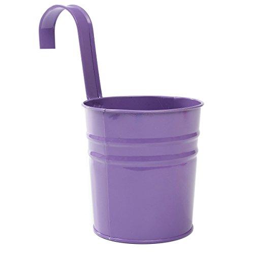 Fablcrew - Pots de fleurs en métal à suspendre, pots de fleurs à suspendre, pot de fleurs, pot de balcon, décoration de balcon, Fer, violet, 10*10*15.5CM