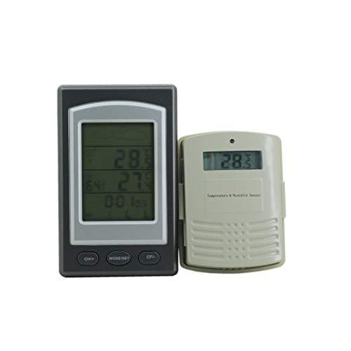 Lindahaot Funkwetterstation Innen/Außen Vorhersage Temperatur und Feuchtigkeitsmessgerät Alarm Thermometer Hygrometer 1 14.3 * 8 * 2cm -