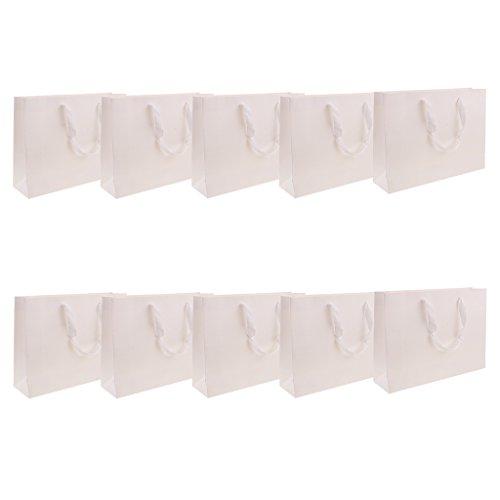 Fenteer 10stk. Papiertaschen Tüten Papiertüten Tragetaschen mit Griff - Weiß, 30x22x8cm
