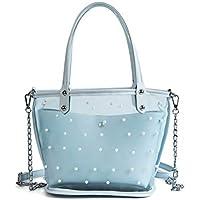 LridSu Bolso Clutch Bolso Transparente Bolso de Cubo Semi Transparente Bolso de Mano Grande y Transparente Candy Jelly IR de Compras o Viajar (Blanco) (Color : Sky-Blue, tamaño : 29x13x20cm)