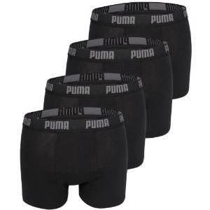 PUMA Herren BASIC Boxer Boxershort Unterhose 4er Pack in vielen Farben (schwarz/schwarz/schwarz/schwarz, L)