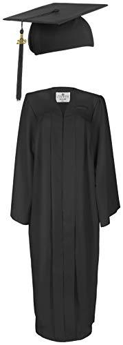 Doktorhut und Talar im Set in Schwarz | Absolventenhut (Quaste und Jahreszahl 2019) mit Robe für Abschlussfeiern | Umhang L bis 1,85 m, Dr. Hut One Size 54-61 (Professor Und Student Kostüm)