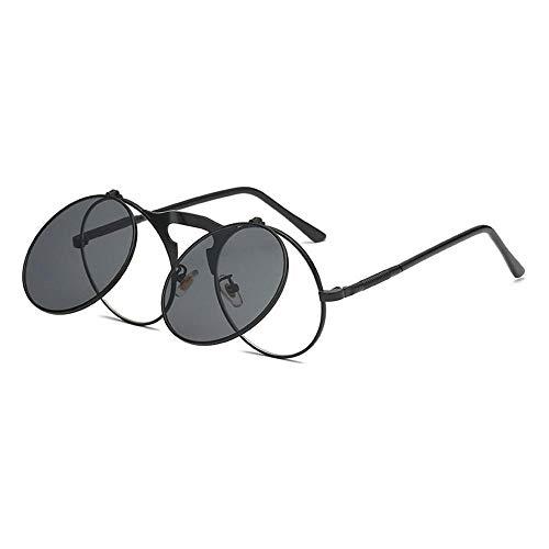 KOBWA Steampunk Sonnenbrillen Vintage Runde Flip-Up Metall Sonnenbrillen für Männer Frauen Retro Kreis Sonnenbrille