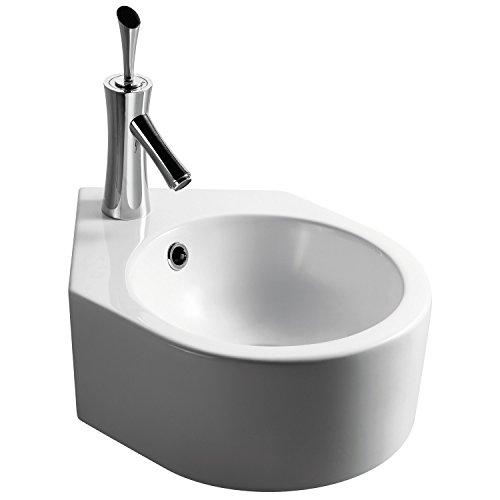 Miganeo Waschbecken 44,5cm x 30,7cm x 16,8cm Waschtisch Keramik Handwaschbecken für Bad Hängewaschbecken 5009