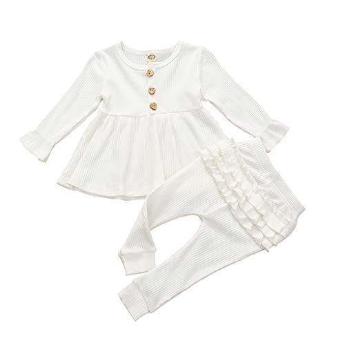 Säuglingsbaby Feste T Shirt Oberseiten Kleid + Rüsche Gamaschen Hosen Ausstattungen