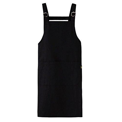 Fyore Imperméable Tablier de Cuisine 100% Coton 83cm Long Poche de Ventre Pour Barbecue Patisserie Homme Femme (Nior)