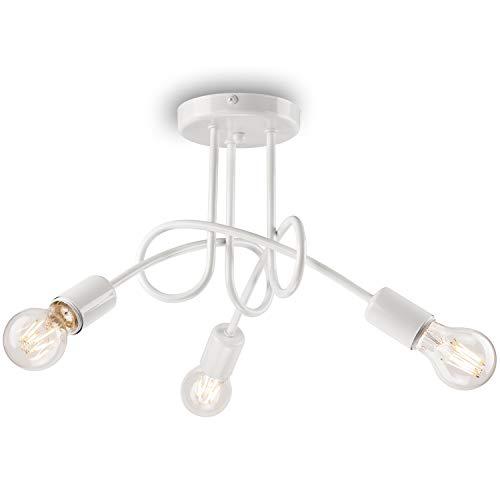 Pendel-Leuchte Decken-Leuchte aus metall E27 Hänge-Leuchte (Farbe: Weiss) Vintage Industrieleuchte Wohnzimmerlampe Modern Wohnzimmer Vintagelampe für Wohnzimmer/Küche/Büro/Praxis
