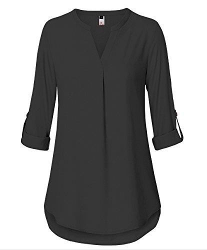 ELFIN Damen Freizeit Lange Ärmel V-Ausschnitt Chiffon Bluse Elegante Frauen Tunika Oberteile (Top Tunika Graue)