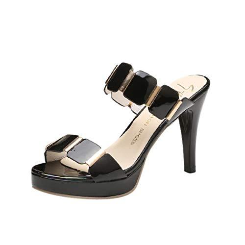 POLP Sandalias de Vestir Plataforma Casual Zapatos de Baño Verano Fiesta Chanclas Sandalias de Vestir Plataforma tacón Alto de Playa Verano Tacon Planas Zapatos Zapatillas Negro