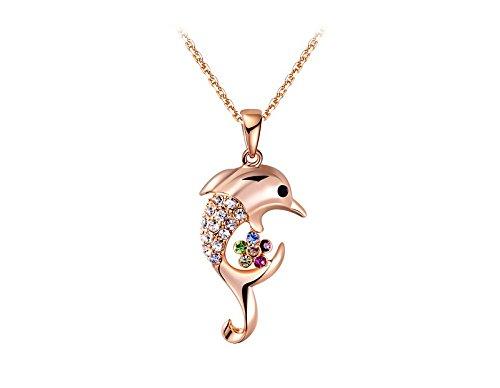 Veuer gioielli per donna oro collana catena del delfino del pendente placcato oro placcato oro con strass regalo da natale per le donne, la fidanzata, matrimonio della donna vf129