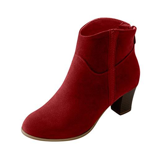 Fascino-M』 Damen Reißverschluss Kurz Stiefel Warm Gefüttert mit Blockabsatz Profilsohle Flandell 6cm High - Office Worker Kostüm