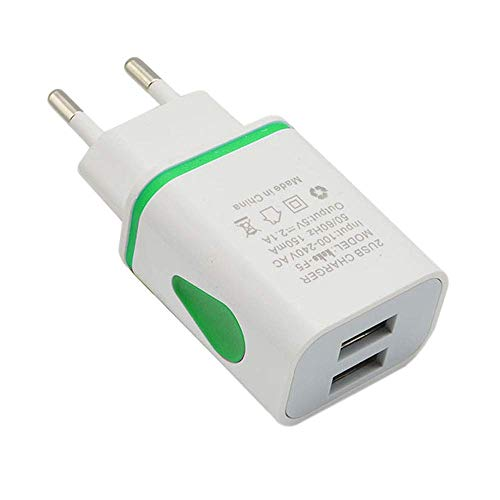 InSense️LED USB 2 Port Wall Home Travel AC Charger Adapter for S7 EU Plug (Green)