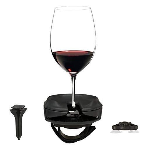 Hukz Tragbar Weinregale Set mit Saugnapf Base, Outdoor Wein Gläserhalter Getränkehalter Glashalter Weingläser Halter Wine Glass Holder Cup Hanger für Weinliebhaber (Mehrfarbig) (Schwarz)