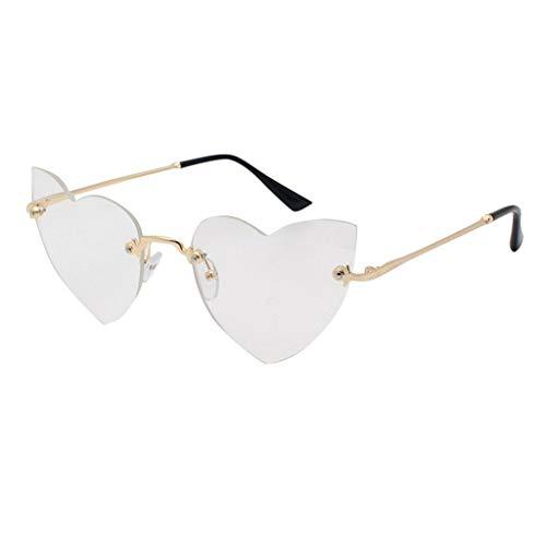 Lazzboy Polarisierte Sonnenbrille Für Frauen Mann Verspiegelte Linse Mode Brille Brillen Hippy Herz Geformt For Hippie Verrücktes Kleid Zubehörteil(Weiß)