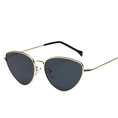 URSING Unisex Katzenaugen Sonnenbrillen Frauen Männer Sommer Vintage Retro Cat Eye Brille Metallrahmen Sonnenbrille Sunglasses Eyewear Sportbrille Brillenmode Klassische (Grau)