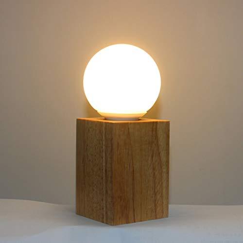 Home Eiche Design Ein (Hohe Qualität Holz Dimmbare Tischlampe Home Schlafzimmer Eiche Tischlampe Rund/Quadratisch Form Nacht Lampe modernes Design)