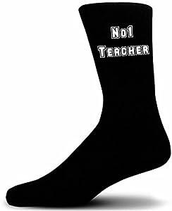 No 1 Teacher on Black Socks, Great Birthday Gift. Novelty Socks.