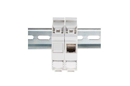 ASSMANN Hutschienen Adapter für 1x Keystone Modul, IP20, inkl. Beschriftungsfeld und Staubschutz, Passend für DN-93617, Silber (Abdeckung Staubschutz Switch)