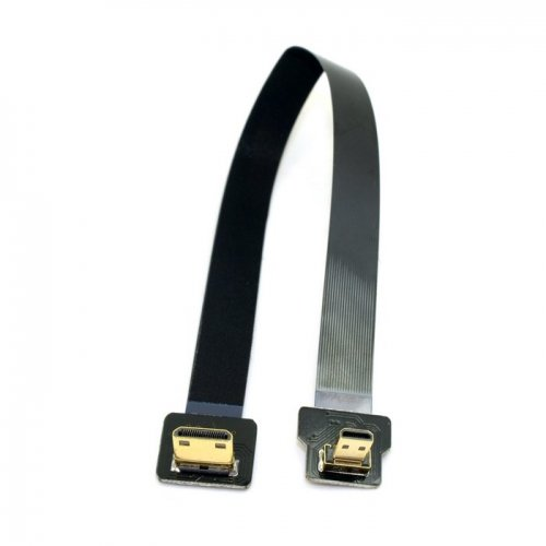 cablecc 90Grad nach unten abgewinkelt FPV Micro HDMI Stecker auf Mini HDMI FPC flach Kabel 20cm für GoPro Multicopter Aerial Photography cablecc Hdmi-hdmi-flachkabel