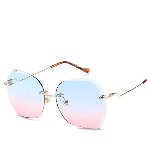 Aoligei Sonnenbrillen ohne Frame Ozean Sonnenbrille Europa und United States-Large Frame Sonnenschirm Spiegel Metall Sonnenbrille (Metall-filtration)